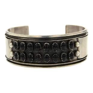 Navajo Black Onyx Row Cuff Bracelet