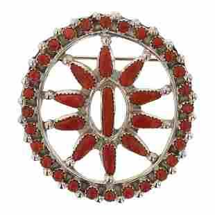 Vintage Zuni Coral Pin