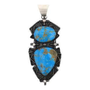 Kingman Turquoise Freeform Large Pendant