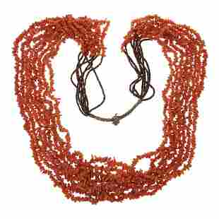 Vintage Eight Strand Heishi & Coral Necklace