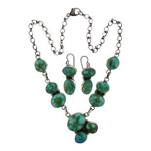 Ella Peters Nevada Green Turquoise Necklace 7 Earrings