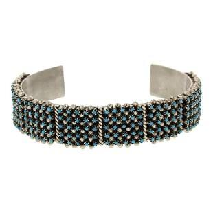 Justin Amesoli Zuni Needlepoint Turquoise Five Row Cuff