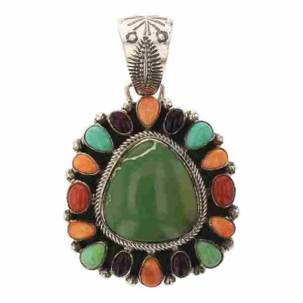 Bobby Johnson Turquoise Coral & Spiny Oyster Pendant