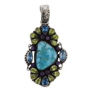 Leo Feeney Kingman Turquoise faceted Peridot Amethyst &