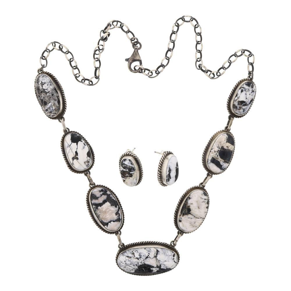 Peggy Skeets White Buffalo Necklace & Earrings Set