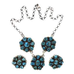 Kathleen Chavez Turquoise Cluster Necklace & Earrings