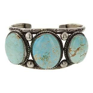 Vintage Pawn Number Eight Turquoise Bracelet