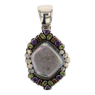 Paul Livingston Druzy Quartz & Faceted Gems Pendant