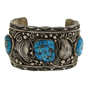 Old Pawn Seafoam Nugget Turquoise Cuff Bracelet