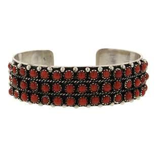 Henry Sam Mediterranean Coral Row Cuff Bracelet