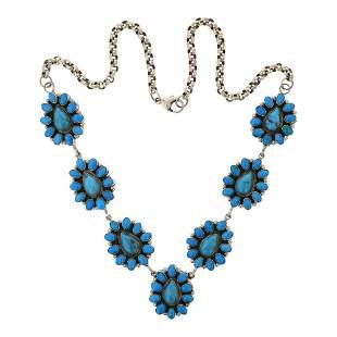 Dorothy Ashley Kingman Turquoise Cluster Necklace