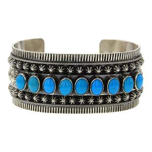 Danny Clark Sleeping Beauty Turquoise Row Cuff Bracelet