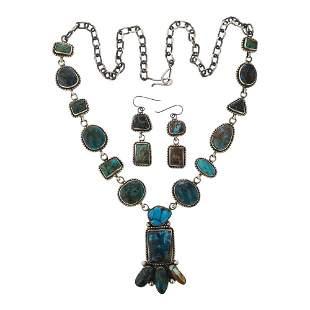 Kathleen Chavez Mixed Nevada Turquoise Necklace &