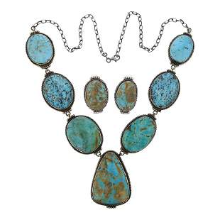 Peggy Skeets Mixed Nevada Turquoise Necklace & Earrings