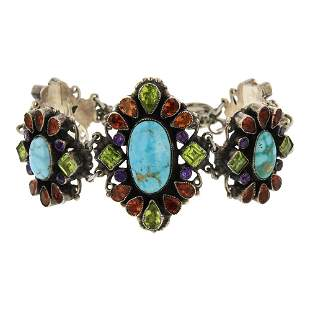Leo Feeney Kingman Turquoise faceted Peridot Garnet &