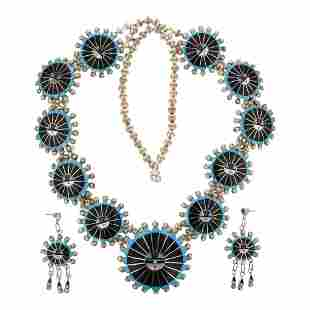 Abel Soseeah Zuni Turquoise Mother of Pearl Acoma Black