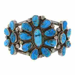 Vintage Pawn Kingman Turquoise Cluster Bracelet