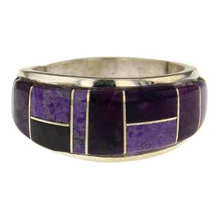 Edison Yazzie Charoite Inlay Ring
