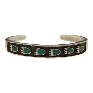 Vintage Turquoise Bearpaw Inlay Bracelet