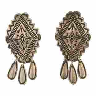 Vintage Plain Silver Stamp work Earrings