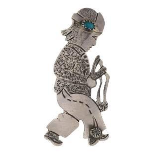 Vintage Pawn Turquoise Story Teller Pin