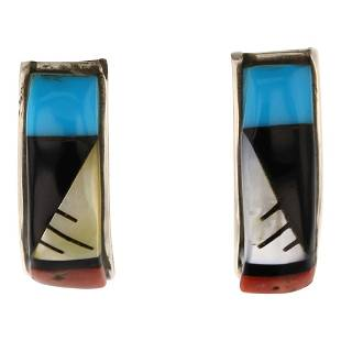Zuni Inlay Turquoise Coral Acoma Jet & Mussel Shell
