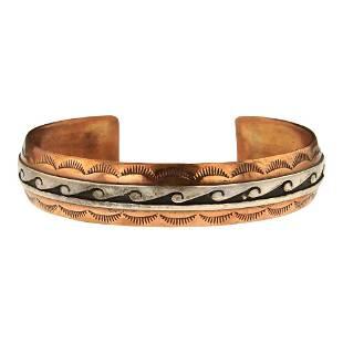 Scott Skeets Sterling Silver on Copper Cuff Bracelet