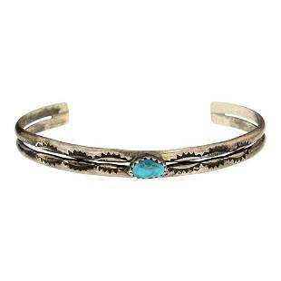 Vintage Pawn Turquoise Half Round Bracelet