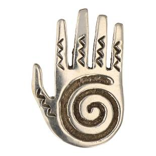 Plain Silver Cast Hand Pin
