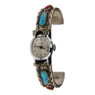 Wayne C. Vintage Turquoise & Coral Watch Bracelet