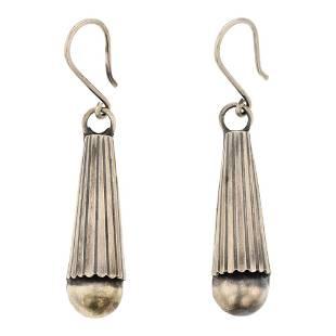 Geraldine Yazzie Navajo Plain Silver Earrings