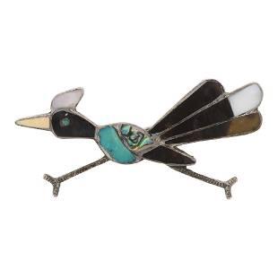Vintage Zuni Turquoise & Shell Roadrunner Pin
