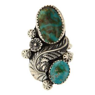 Turquoise Leaf work Ring