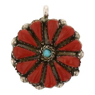 Zuni Inlay Turquoise & Coral Cluster Pendant