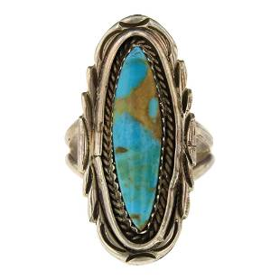 Vintage Nevada Turquoise Oval Ring