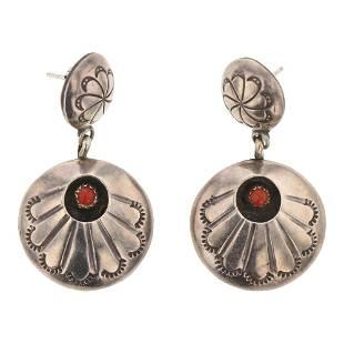 Vintage Coral Shadowbox Earrings