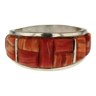 Edison Yazzie Spiny Oyster Cobblestone inlay Ring