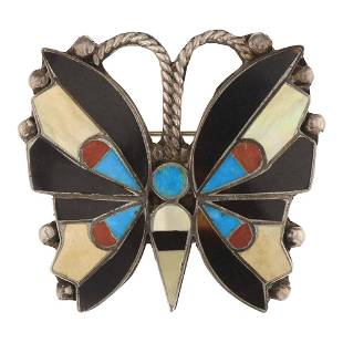 Vintage Zuni Turquoise Coral & Shell Butterfly Pin