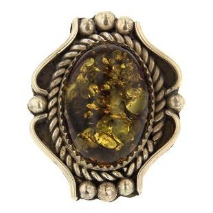 Navajo Amber Ring