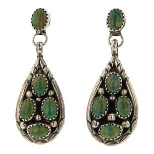 Johnson Yazzie Nevada Green Turquoise Teardrop Earrings