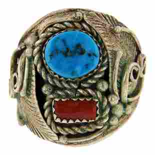 Vintage Pawn Turquoise & Coral Ring