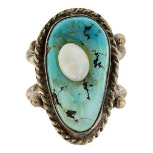 C. Aguilar Vintage Turquoise & Opal Ring