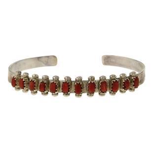 Zuni Inlay Coral Needlepoint Row Bracelet