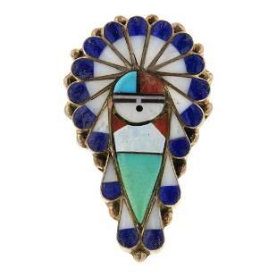 Zuni Inlay Turquoise Lapis MoP & Coral Ring
