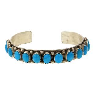 Kingman Turquoise Row Cuff Bracelet