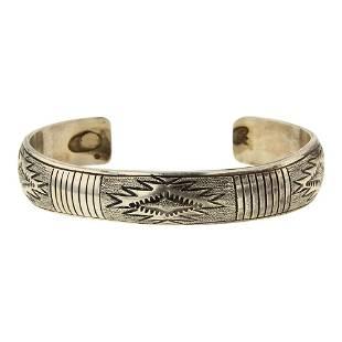 Navajo Plain Silver Rug Pattern Cuff Bracelet