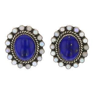 Lapis & Synthetic Opal Cluster Earrings