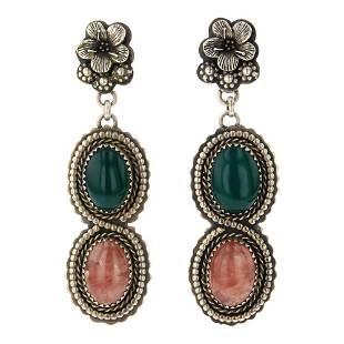 Larose Ganadonegro Agate & Rhodochrosite Earrings