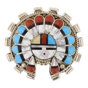 Zuni Inlay Turquoise Coral & MoP Pin