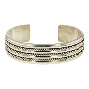John Nelson Plain Silver Half Round Twist Wire Cuff